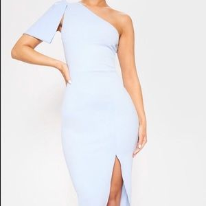 Baby Blue One Shoulder Bow Midi Dress